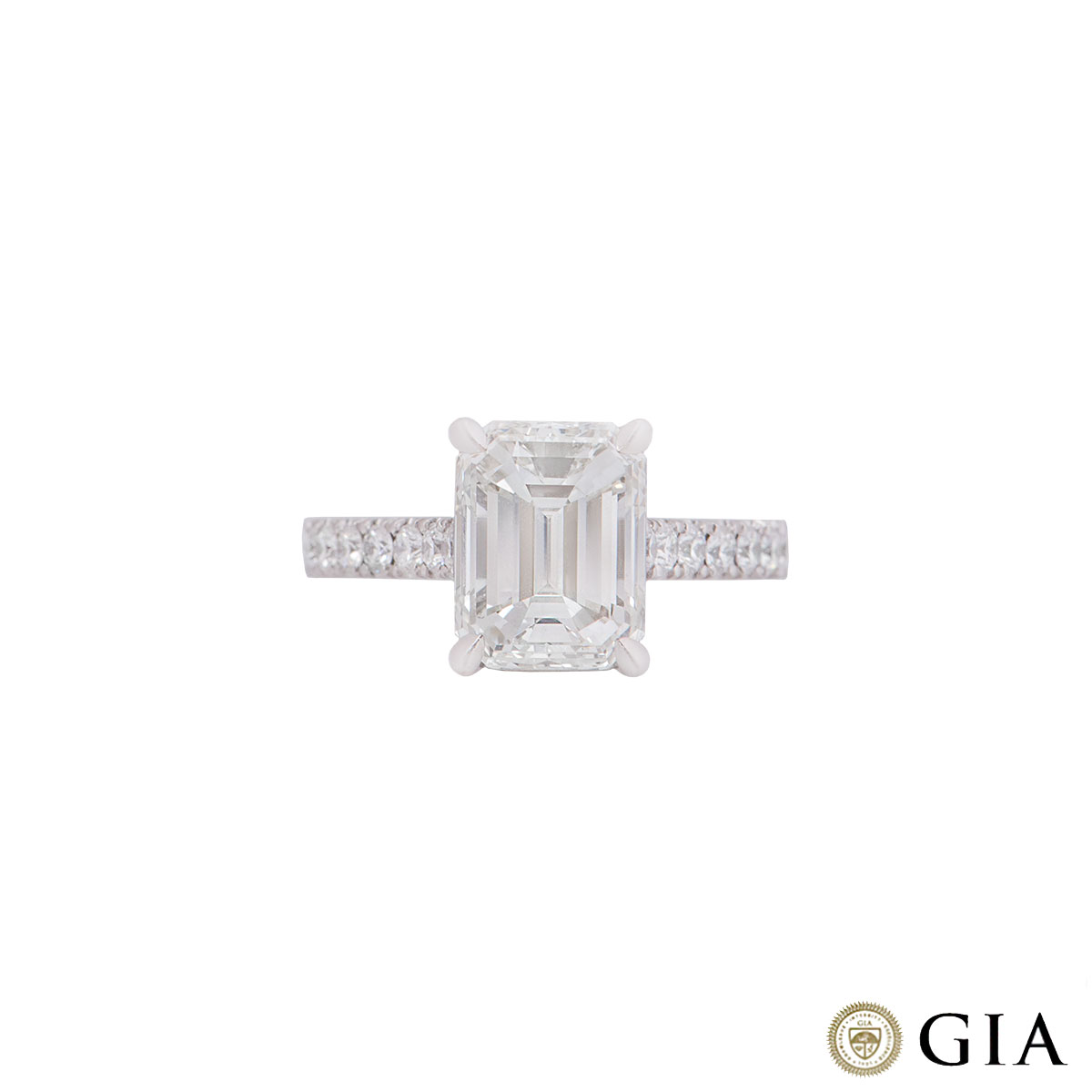 Platinum Emerald Cut Diamond Ring 3.02ct I/VVS1
